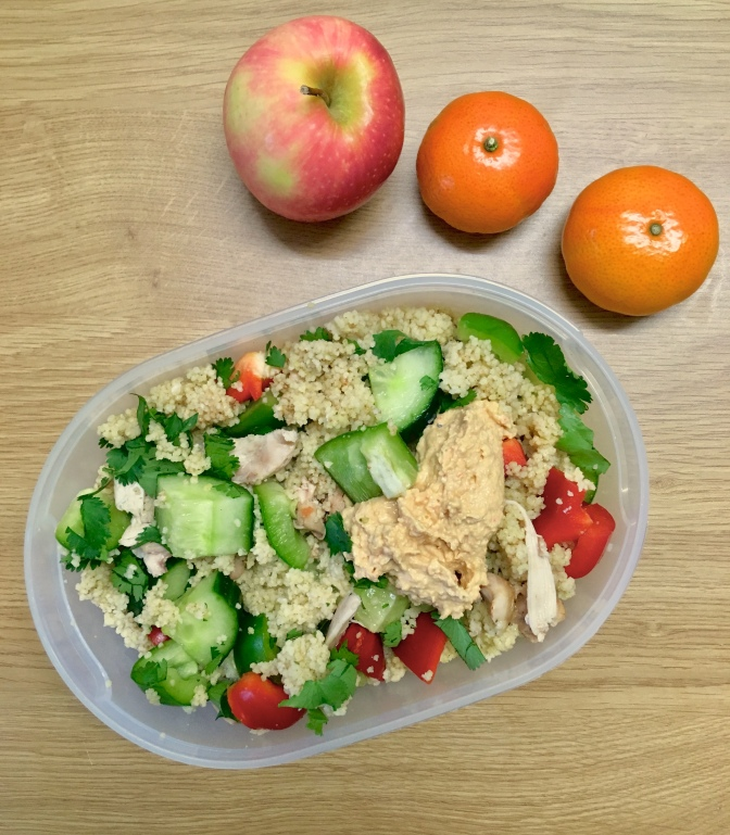 Chicken and Hummus Couscous Salad