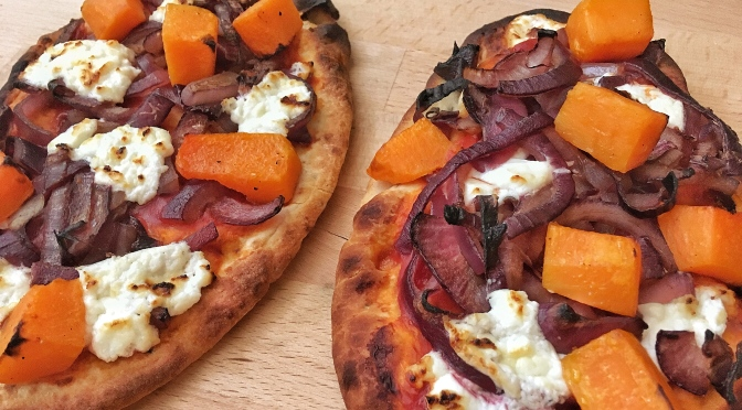 Goats Cheese, Butternut Squash and Caramelised Onion Pizza Naans