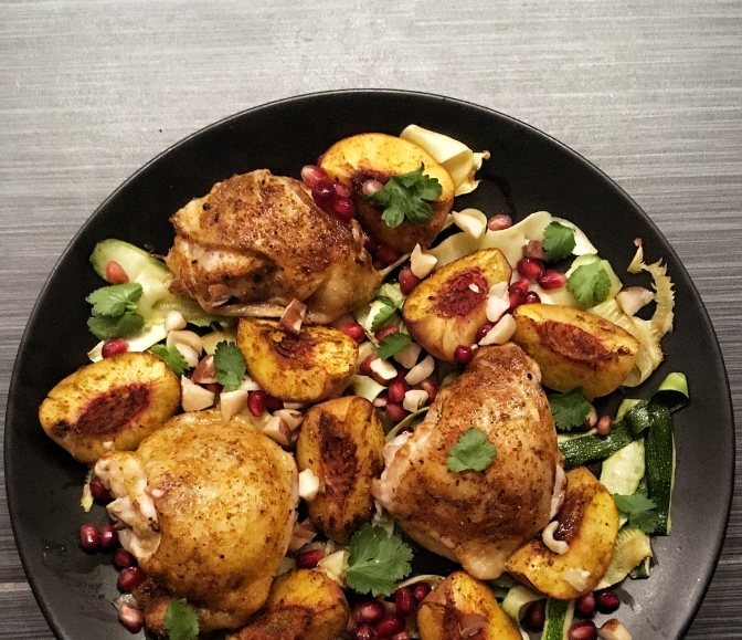 African-Spiced Peach and Pomegranate Chicken
