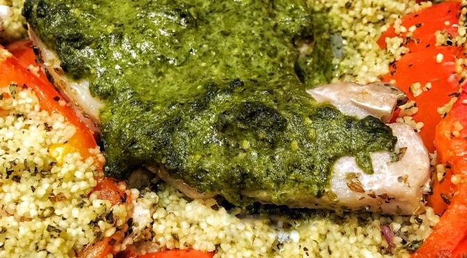 Pesto Pork with Italian Couscous